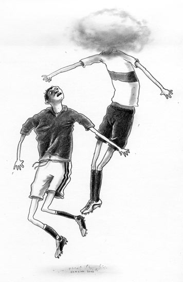 Kopfballduell (Zeichnung: Jochen Ehmann)