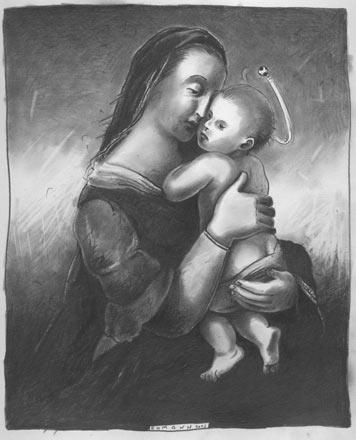 Mama Maradona (Zeichnung: Jochen Ehmann)