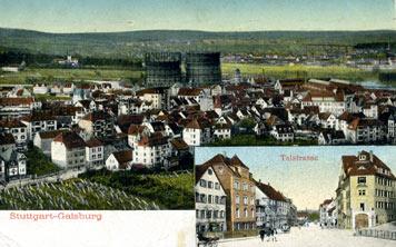 Gaisburg von Süden, 1911, das Ortsbild beherrscht das Gaswerk; Sammlung Unglaub
