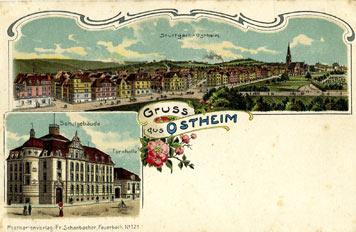 Gesamtansicht von Ostheim 1903, im Vordergrund die Rotenbergstraße; Sammlung Unglaub