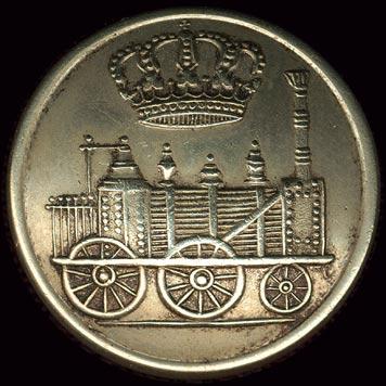 Metallknopf mit Lokomotive