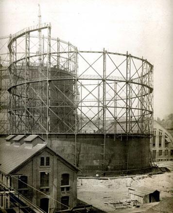 Der Bau des zweiten Teleskop-Gaskessels an der Rotenbergstraße 1910. Foto: EnBW