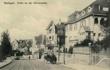 Die untere Gerokstraße, bergabwärts gesehen - um 1912.