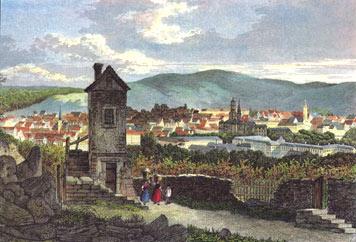 Das Kanonenhäusle in einer Darstellung aus der Mitte des 19. Jahrhunderts, im Hintergrund Stuttgart