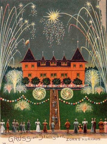 Das 1890 erbaute, heute nicht mehr bestehende Kurhaus Zorn (Gerokstr. 37)