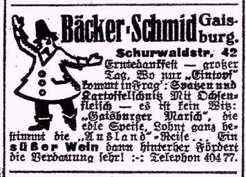 """Werbung der Gaisburger Bäckerschmide für """"Gaisburger Marsch""""; Stuttgarter Neues Tagblatt vom 30. September 1933."""
