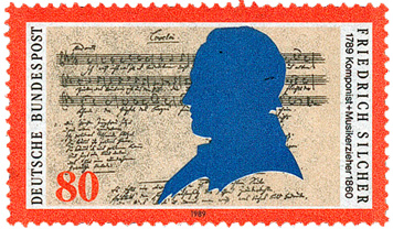 Die bislang einzige Briefmarke zu Friedrich Silcher aus dem Jahr 1989