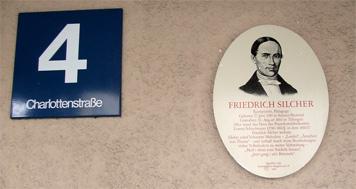 Gedenkplakette zu Friedrich Silcher an seinem ehemaligen Wohnhaus in Stuttgart
