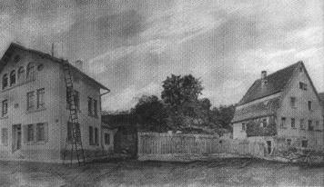 Das Alte Schulhaus in seiner ursprünglichen Form von 1836/37. Fotomontage, 1872.