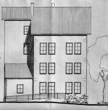Südansicht des Alten Schulhauses im Bauantrag