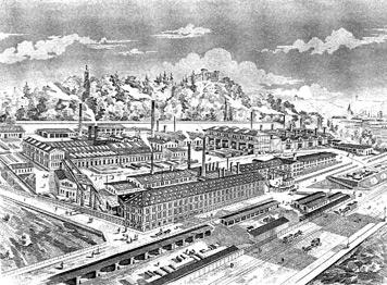 Die Kuhnsche Fabrik in ihrer Blütezeit. Im Hintergrund auf dem Hügel die Villa Berg. (Idealisierte Darstellung, 1894)