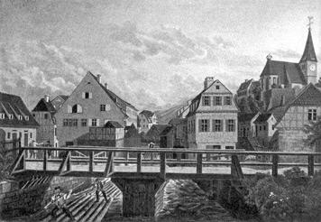 Der Mühlkanal in Berg. Das große Haus links, mit dem Giebel zum Betrachter, ist die Große oder Vordere Mühle, die 1613 nach Plänen von Heinrich Schickardt wieder aufgebaut wurde. Rechts oben die alte Berger Kirche von 1470. (Gemälde, 1840)