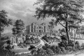 Die 1845 bis 1853 erbaute Villa Berg auf dem Höllschen Bühl. (Lithografie, um 1860)