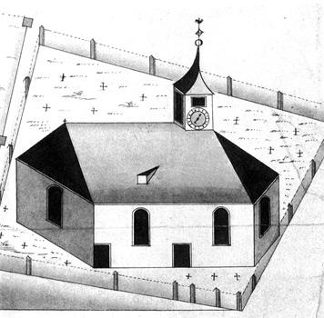 Die erste Kirche in Gablenberg entstand gegen Ende des 15. Jh. (Zeichnung, 1750)