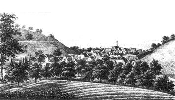 So sah Gablenberg zu Beginn des 19. Jh. aus; zu beiden Seiten des Ortes sind Weinberge zu erkennen. (Lithografie, um 1825)
