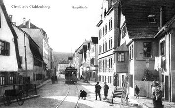 Die obere Hauptstraße zu Beginn des 20. Jh. (Fotografie, um 1910)