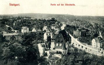 Gänsheide datiert 1909, rechts die Gerokstraße, von links mündet die (obere) Wagenburgstraße (Slg. Unglaub)