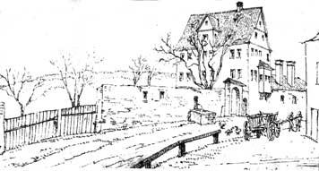 Das alte Gaisburger Schlössle aus dem frühen 17. Jh. (Tuschezeichnung, 1831)