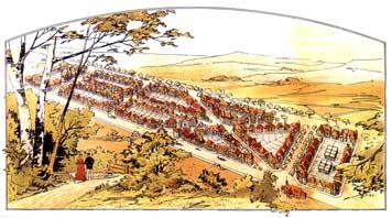 So stellten sich die Planer die neue Kolonie Ostheim vor. (Buchillustration, 1896)