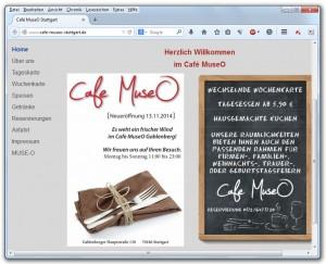 Website des Café MuseO