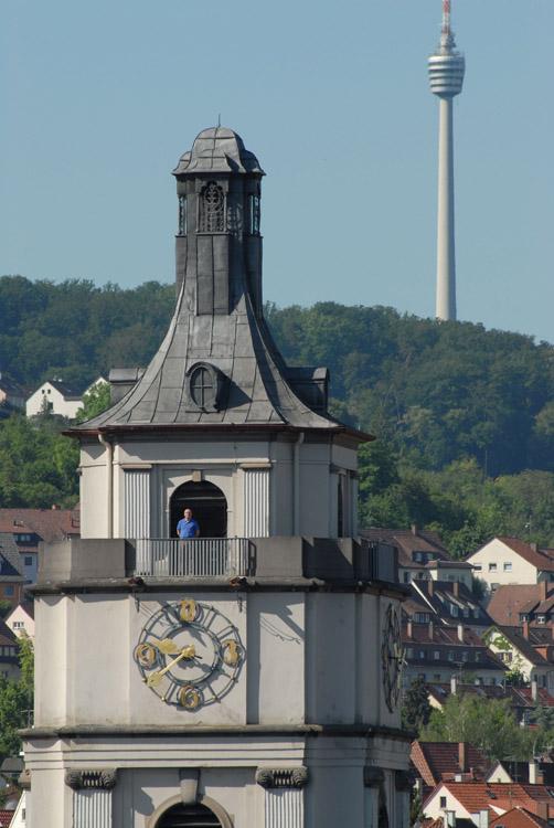 Klaus Pantle auf dem Turm der Gaisburger Kirche