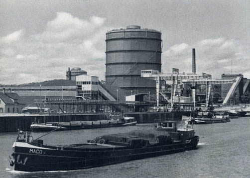 Frachtschiffe Schiffslände Gaisburg, Ende 1950er-Jahre, Werksfoto