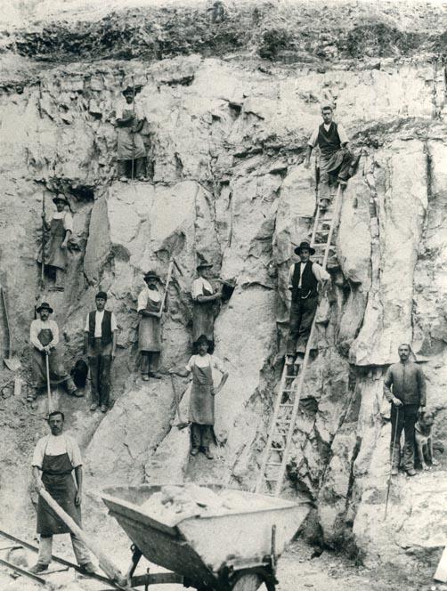 Steinbruch am Raichberg, um 1900. Slg. Blessing