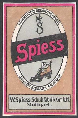 Werbemarke der Schuhfabrik Spieß, die bis in die 1970er-Jahre in der Stöckachgegend produzierte; um 1900. Sammlung Dr. Wolfgang Müller