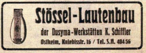 Anzeige des gesuchten Lauten-Herstellers im Stuttgarter Adressbuch des Jahres 1927. Sammlung MUSE-O