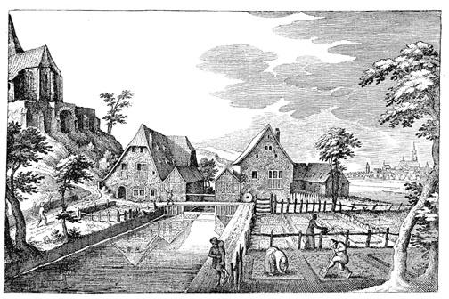 Die Hintere und die Vordere Mühle in Berg, im Vordergrund der Mühlkanal. Stich von Matthäus Merian aus dem 17. Jh.