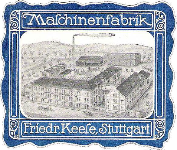 Aus der Zeit um 1910 stammt diese schöne Werbemarke des Ostheimer Maschi-nenbauers Keese. Sammlung Dr. Wolfgang Müller
