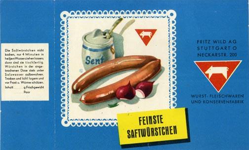 Würstchen, Fritz Wild AG, wohl 1970er-Jahre, Slg. MUSE-O
