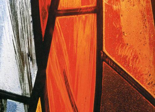 Ausschnitt aus einem Glasfenster von Hilde Reiser, 1967