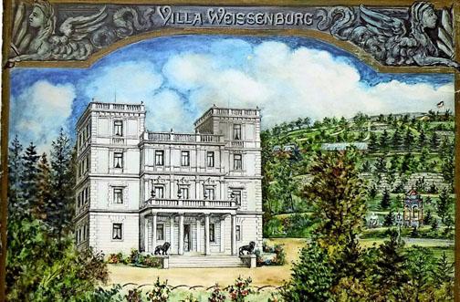 Die Villa Weissenburg auf einem Gemälde aus der Zeit um 1900