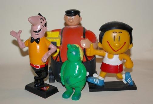 Immer nur lächeln – Werbemännchen (von links): Bruno, Brummi, Lefax und Trimmy. Foto: Gohl