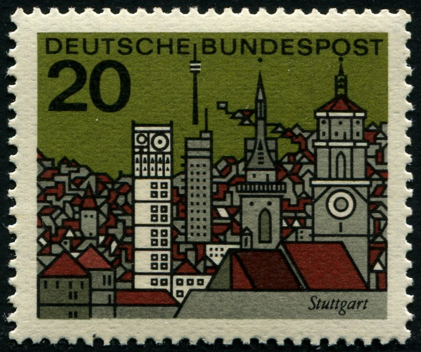 Eine Stuttgart-Ansicht auf einer Marke der Deutschen Bundespost von 1965.